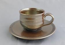 若狭鳳足焼 星くずコーヒー碗皿